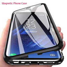 лучшая цена Double Side Glass Magnetic Metal Case For Samsung Galaxy S8 S9 S10 Plus S10E 5G Phone Case For Samsung Note 8 9 10 Plus A50 Case