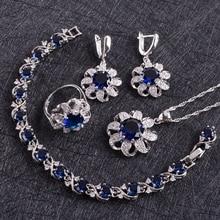 الأزرق الزركون زي الفضة 925 مجموعات مجوهرات النساء أقراط بالحجارة أساور قلادة و قلادة خواتم مجموعة مجوهرات هدية صندوق