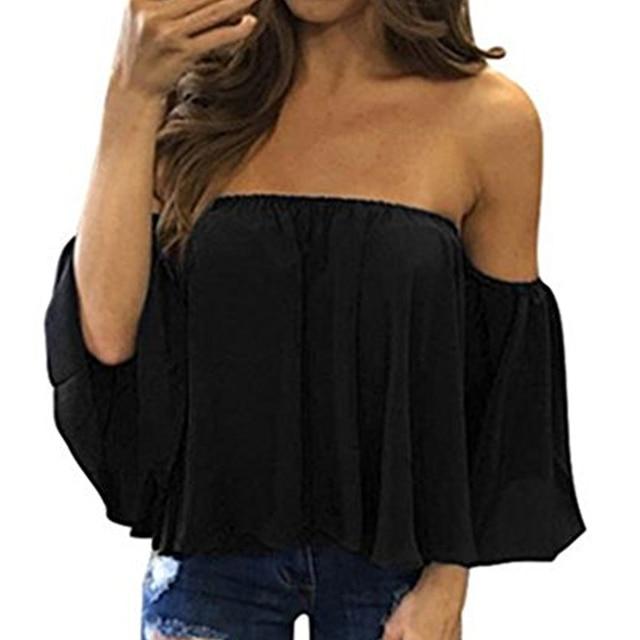 Blusa informal con hombros descubiertos para mujer, camisa sin tirantes de Color puro con mangas abombadas 1