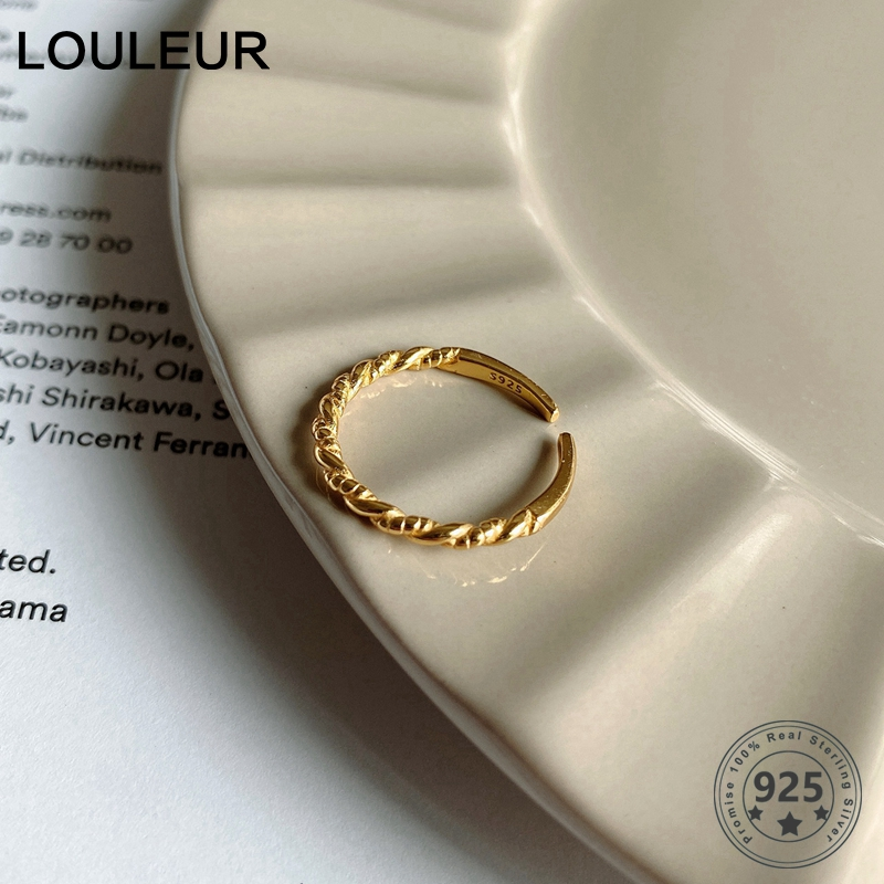 LouLeur Real 925 Sterling Silver Tail Ring Minimalist Female Small Twist Rings For Women Fashional Fine Jewelry Birthday Gifts