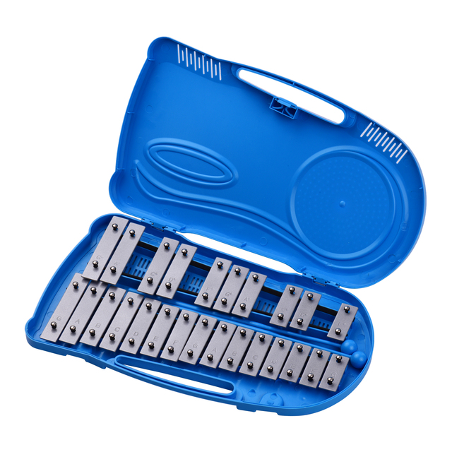 Professional 25 Notes Glockenspiel Xylophone Percussion Instrument Early Educational Teaching Instrument with Plastic Case