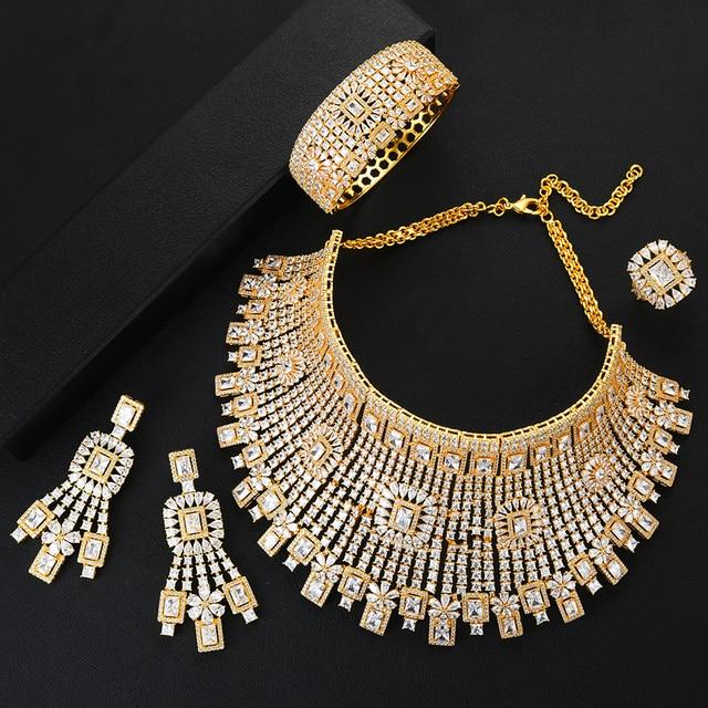 GODKI Jimbora جديد فاخر نوبل الجوف الكبير 4 قطعة العروس موضة مجوهرات الزفاف مجموعات قلادة الإسورة أقراط الطوق دبي فستان