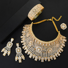 GODKI Jimbora conjunto de joyas de boda para novia, collar, pendientes, anillo, vestido de Dubái, 4 Uds.