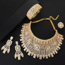 Godki Jimbora Nieuwe Luxe Noble Hollow Grote 4 Stuks Mode Bruid Bruiloft Sieraden Sets Ketting Bangle Oorbellen Ring Dubai Jurk