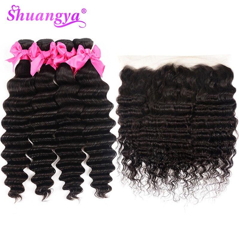H185fb8310d6d47349a7a35b245ec0bea4 Shuangya Hair Loose Deep Wave Bundles With Frontal Brazilian Hair Weave Bundles With Closure Remy Hair Frontal With Bundles