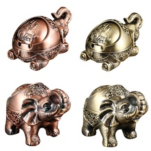 Creative Ashtray Home-Decor Elephant-Shaped Metal Personality Windproof with Lid Anti-Fall