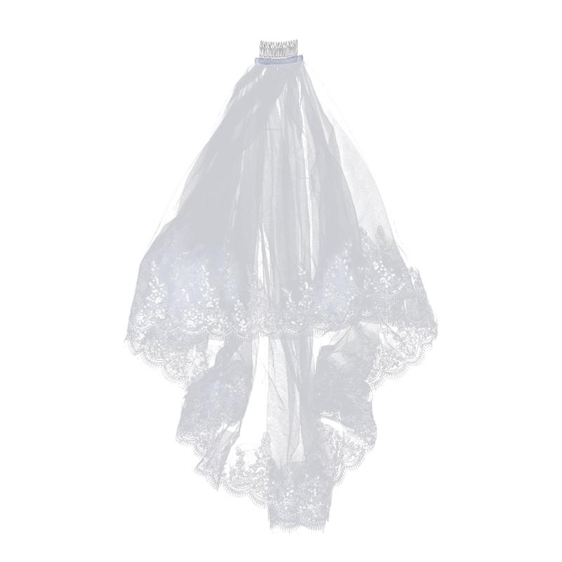 Double Layer Wedding Bridal Veil Long White Bridal Veil With Lace Edge And Insert Comb Veil For Wedding Accessories