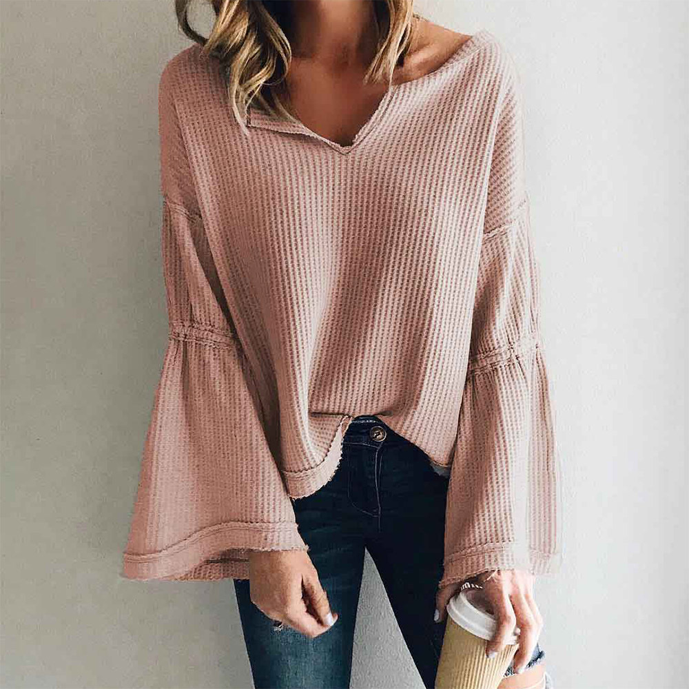 Women Blouses 2019 Knitting Solid Casual Long Sleeves Plus Size Woman Shirt Blusas Mujer De Moda