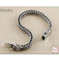 S925 sterling silver colour bracelet men Men's and women's bracelets retro punk rock snake bracelet Thai silver colour jewelry