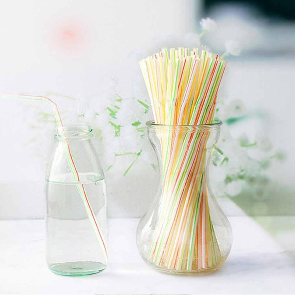 100 pces plástico flexível sólido branco party tea & coffee shop descartável bebendo palhas decorações de casamento
