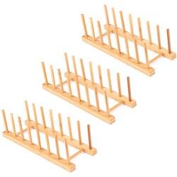 3 Pack bambusowy drewniany stojak na naczynia-stojak na naczynia stojak na pokrywkę  Organizer do szafki kuchennej do miski  kubka  deski do krojenia i Mor