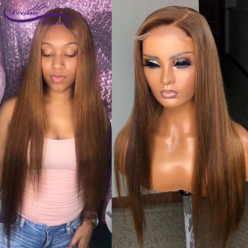 Colored 13*6 Deep Part Lace Front Wig Straight Blonde Color Pre Plucked Lace Wigs Brazilian Remy Hair Dream Beauty