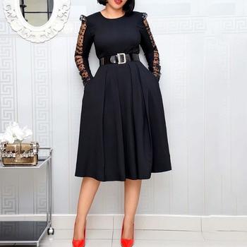 цена на Black Elegant Women Dress Long Sleeves Soop Neck A Line Lace Knee Length High Waist Night Club Evening Party Cocktail Dresses