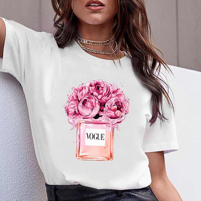 여성 의류 인쇄 꽃 향수 병 달콤한 반팔 Tshirt 인쇄 된 여성 셔츠 T 여성 T-셔츠 탑 캐주얼 여성 티