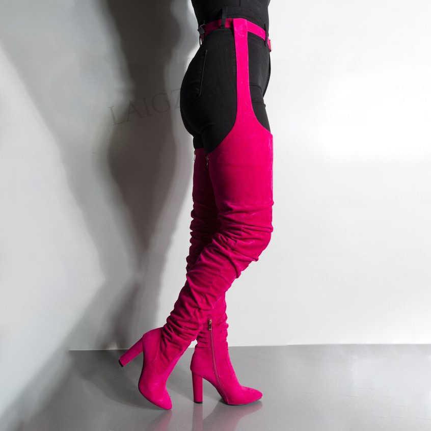 LAIGZEM Nữ Chấp Giày Dây Lưng Đùi Chun Cao Boot Đế Bên Lưng Zip Nữ Người Phụ Nữ Size Lớn 41 42 43 47
