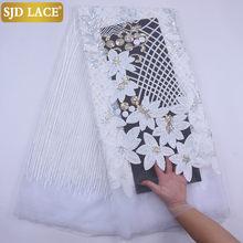 SJD-tela de encaje de malla francesa de alta calidad, Tela de encaje de malla Africana blanco puro, lentejuelas pesadas, para vestido de fiesta de boda, SewA2074