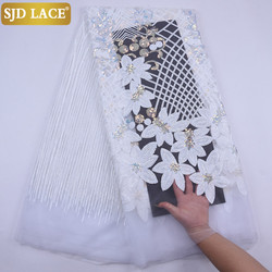 SJD LACE Pure White African Net Lace Fabric High Quality Heavy Sequines French Mesh Lace Fabric For Wedding Party Dress SewA2074