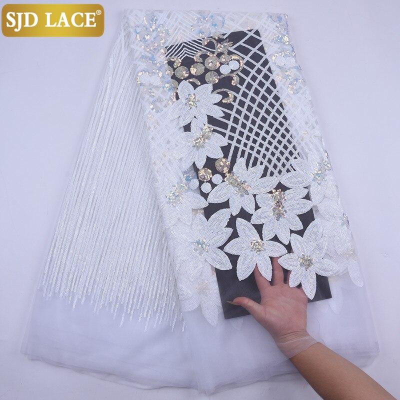 Sjd laço puro branco africano tecido de renda líquida alta qualidade lantejoulas pesadas malha francesa renda tecido para casamento vestido festa sewa2074