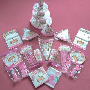 Image 4 - Platos de vasos desechables para fiesta de cumpleaños niños niñas, vajilla de unicornio de feliz cumpleaños, rosa, suministros de fiesta, unicornio