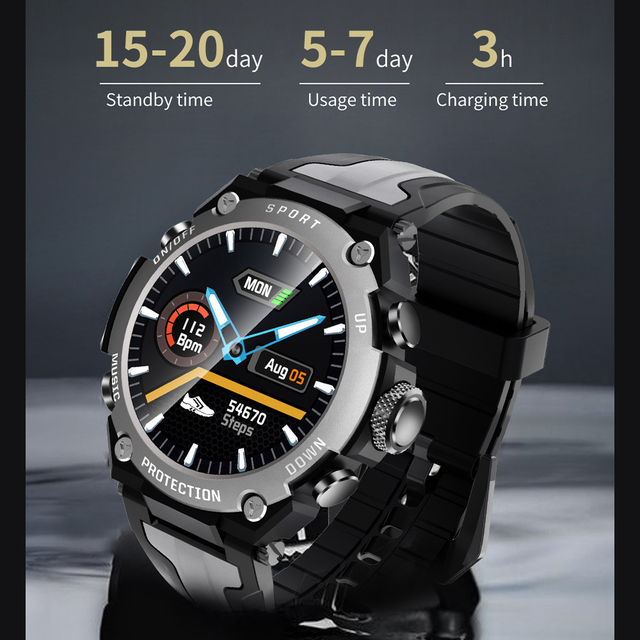 New Smart watch Men Music Play IP68 Waterproof 1.3 inch Sport Digital Men Watch,Compass & weather Smartwatch For ios Android 2