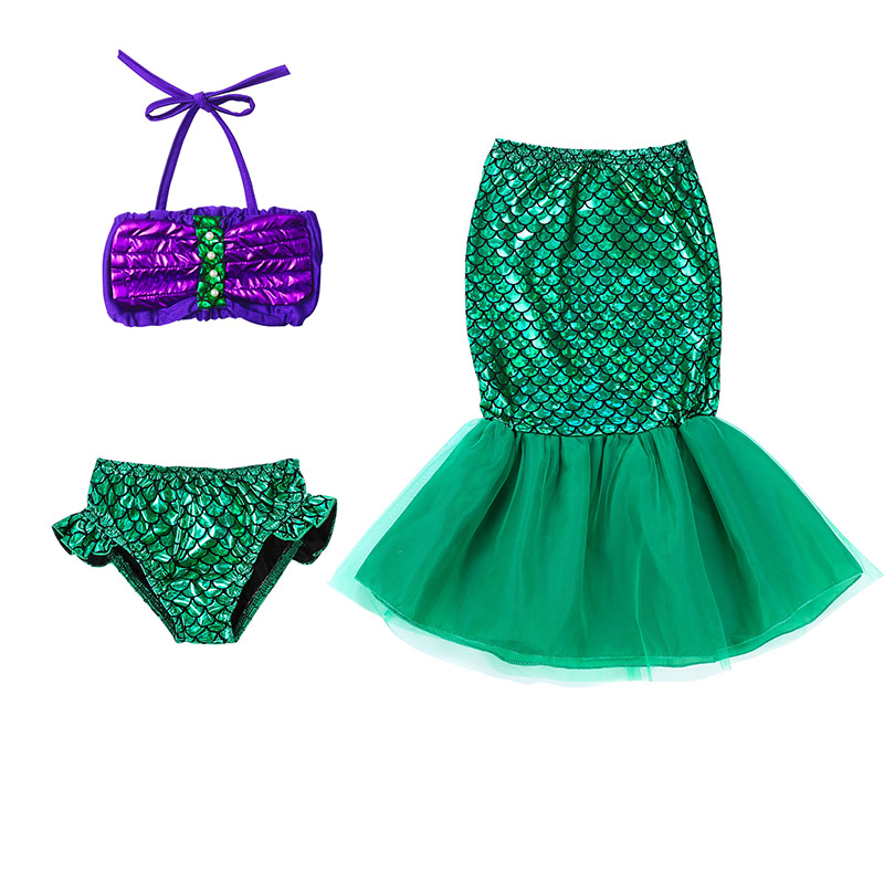 Mermaid Tail Costume 3pcs Set Kids Little Mermaid Princess Dress Swimwear New Girls Swimsuit Cosplay Ariel Dresses C30682CH