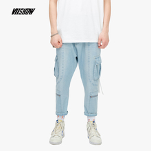 VIISHOW 2019 Summer new jeans mens tooling trousers multi-pocket casual pants handsome Washed Mens NC1640192