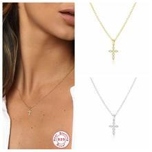 Collier avec pendentif croix en argent Sterling 100% pour femmes et filles, chaîne de fête d'anniversaire, bijoux fins, 925 réel