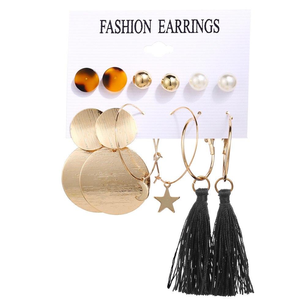17 км акриловые серьги с кисточками для женщин, богемные серьги, набор больших геометрических висячих сережек Brincos, Женские Ювелирные изделия DIY - Окраска металла: Earrings Set 10