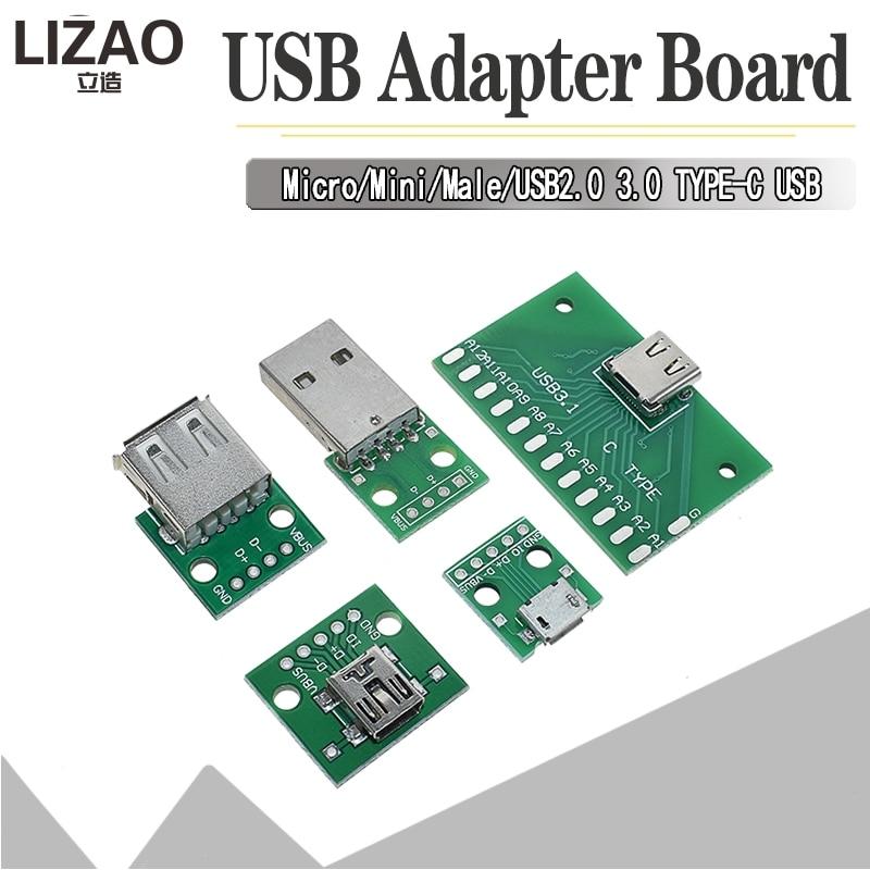 5PCS USB Male Connector / MINI MICRO USB To DIP Adapter Female Connector 2.54 Connector B Type-C USB2.0 3.0 Female PCB Converter