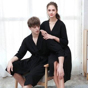 Unisex Bathrobe Women Sweat Femme Men Kimono Nightwear Breathable Solid Color Splicing Home Clothes Bath Robe Sets Bata Mujer балетки bata bata ba060aweala4