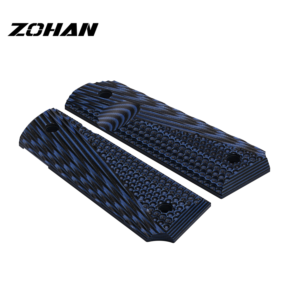 ZOHAN 2Pcs Tactical 1911 G10 Pistol Grips Full Size Commander Ambi Safety Cut Screws Texture Hanggun Grips for Hunting Accessory