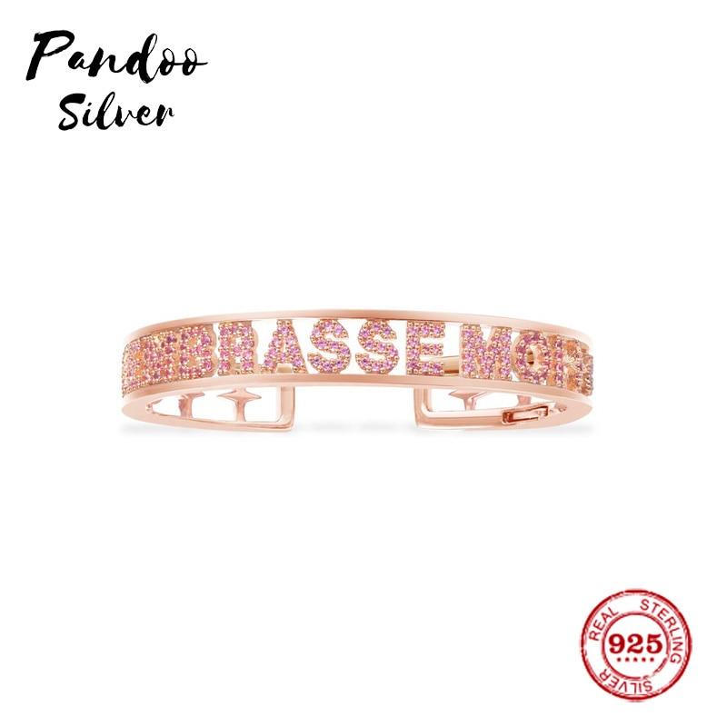 Fashion Charm Sterling Silver Copy 1:1 Copy,Pink Silver 'EMBRASSE MOI' Bracelet Women Monaco Jewelry Gift With Logo