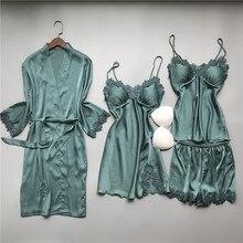 MECHCITIZ 4 pieces silk pajamas sets for women sexy sleepwear short pants spring pijamas luxury robe femme night wear pyjamas