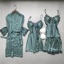 MECHCITIZ 4 ชิ้นชุดนอนผ้าไหมชุดสตรีชุดนอนเซ็กซี่สั้นกางเกงฤดูใบไม้ผลิpijamasหรูหราRobe Femme Night Wearชุดนอน