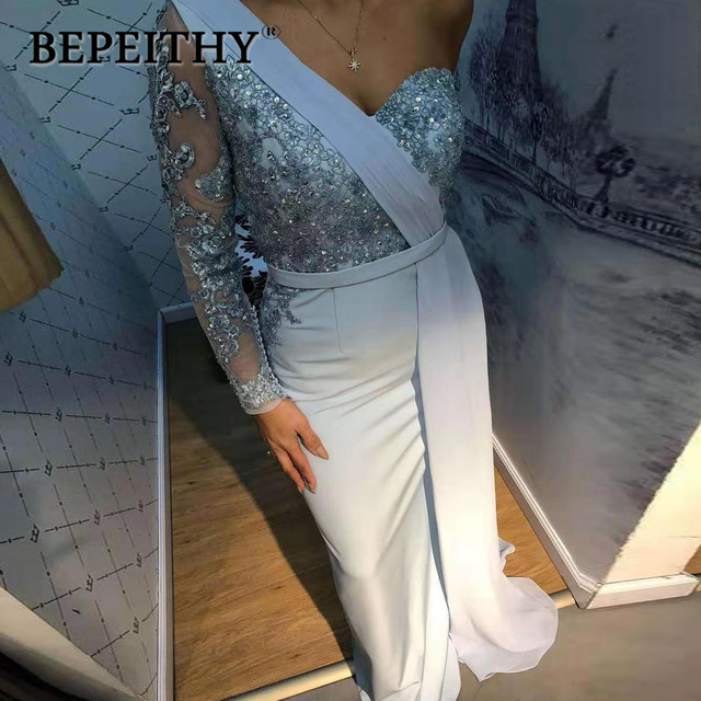 BEPEITHY One Shoulder Wedding Party Dress Long Sleeve 2019 Vestido De Festa Long Evening Prom Dress 1