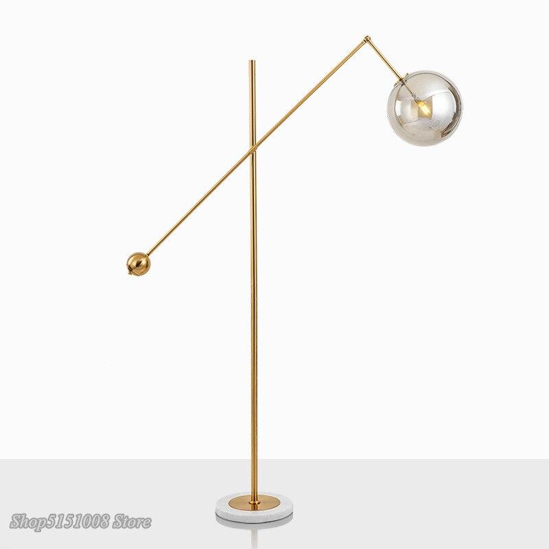 Modern Glass Ball Floor Lamp Nordic Designer For Living Room Bedside Bedroom LED Floor Lamps Marble Base Deco Lighting Luminaire
