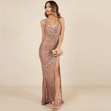 V Neck Sleeveless Long Wrap Dress Champagne Backless Cross Straps Split Leg Pleated Party