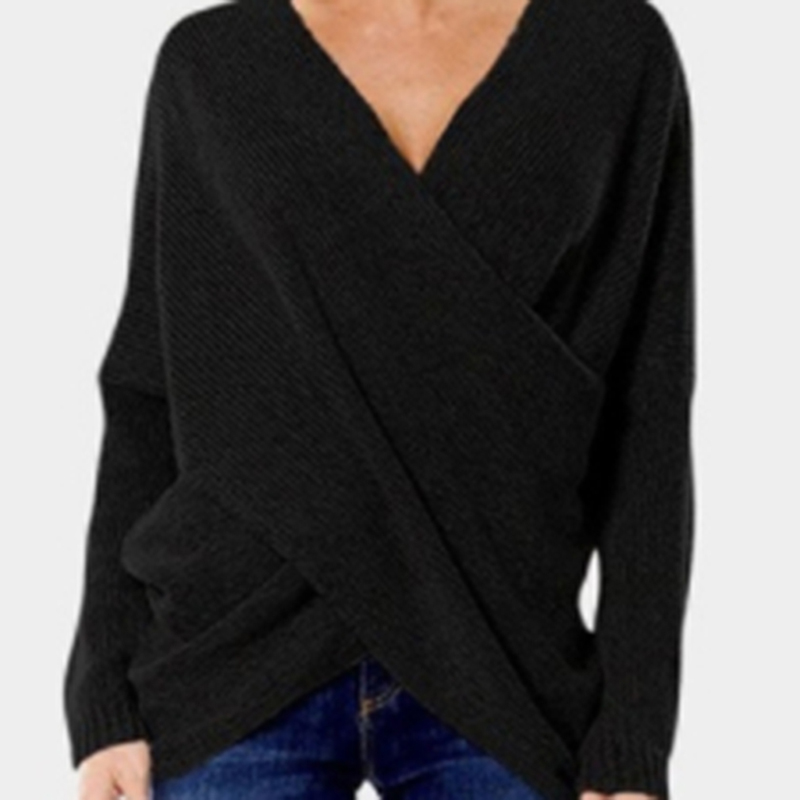 Sexy Autumn And Winter Women Pullover Sweaters Female Drop-Shoulder Cross Wrap Sweater Thread Slim Thickening Sweater Tops