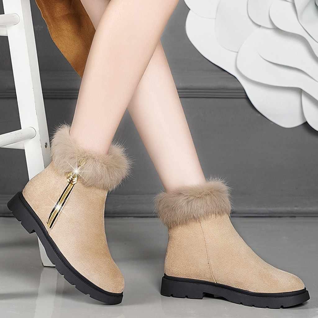 Moda kadın süet çizmeler sıcak kürk peluş kare topuk fermuar ayakkabı kadın sıcak tutmak kar yuvarlak ayak çizme rahat martin çizmeler