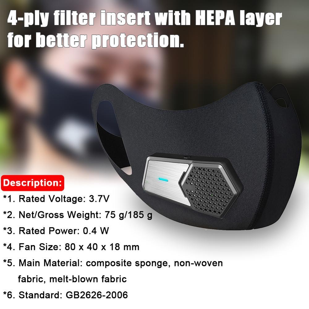Masque intelligent avec Valve respirante PM2.5 masque facial électrique purificateur d'air Anti-poussière Pollution approvisionnement en Air frais sûr pour vélo