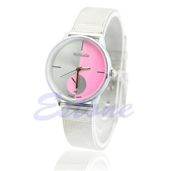 New Fashion Classic Womens Men Quartz Analog Stainless Steel Silver Wrist Watch 19QC