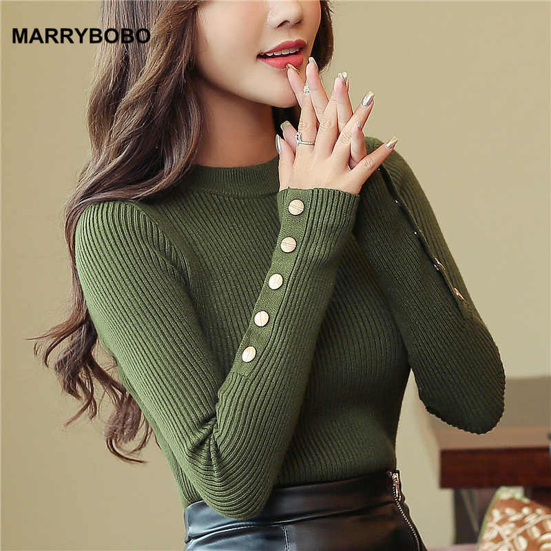 2019 Autumn Women Sweater Knitted Long Sleeve O-Neck Pullovers Lady Slim Tops Vintage Button Office Sweaters