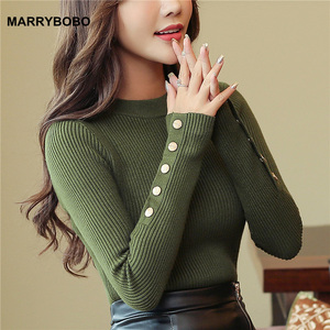 2020 Autumn Women Sweater Knitted Long Sleeve O-Neck Pullovers Lady Slim Tops Vintage Button Office Sweaters(China)