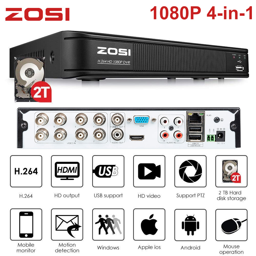 ZOSI 1080P 8 Channel TVI DVR 8CH AHD/CVI/TVI/CVBS DVR 1920*1080 2MP CCTV Video Recorder Hybrid DVR 4 In 1 Security System