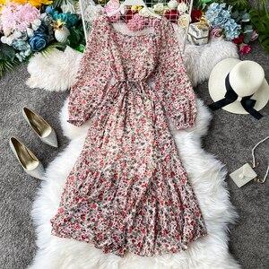 Весенне-осеннее винтажное шифоновое платье с цветочным принтом, женские праздничные платья с квадратным воротником и пышными рукавами, веч...