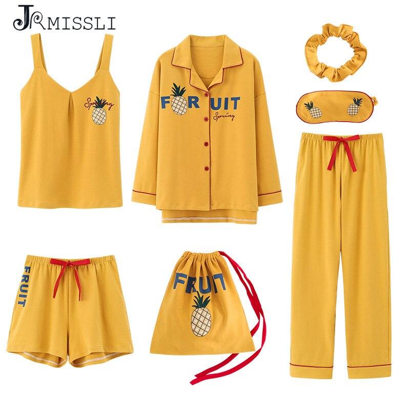 JRMISSLI Women 7 Pieces Pajamas Sets Pinapples Printing Cotton Pajamas Women's Sleepwear Lovely Home Clothing Pijama
