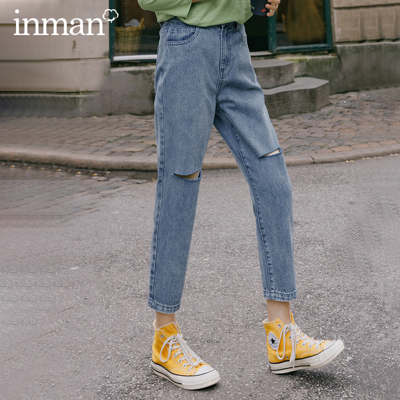 INMAN 2020 Spring New Arriavl Pure Cotton Literary Retro Hole Loose Fashion Turnip Pant