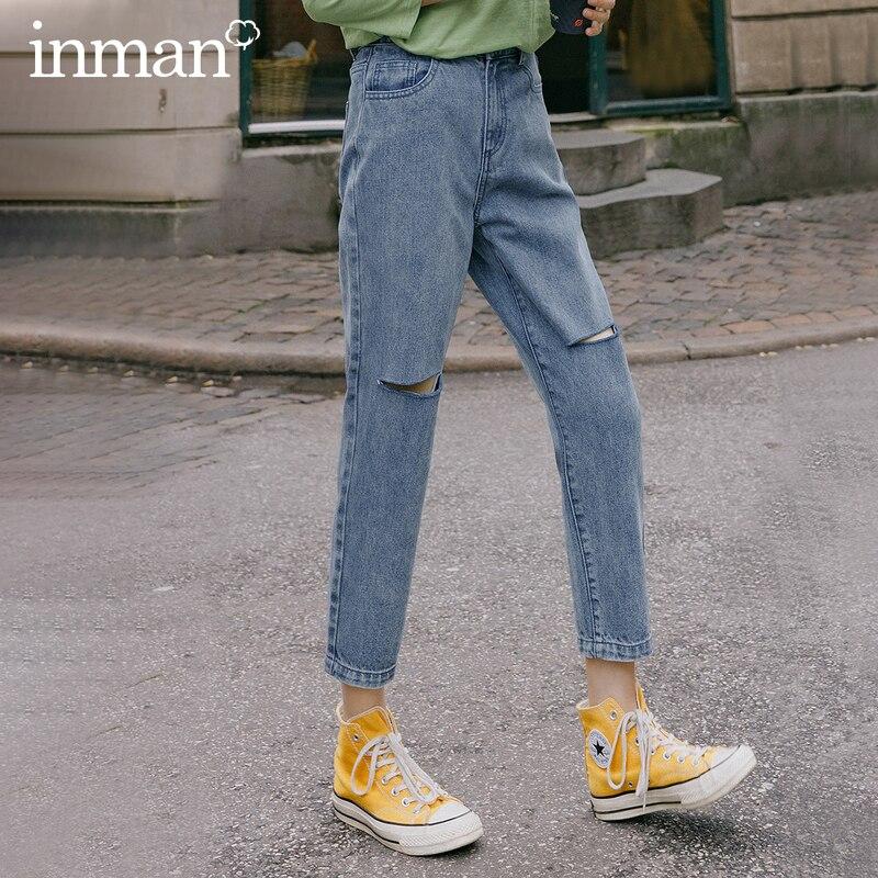 INMAN 2020 Spring New Arriavl Pure Cotton Literary Retro Hole Loose Fashion Turnip Pant