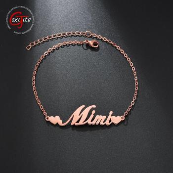 Goxijite Custom Name Bracelet For Women Stainless Steel Heart Nameplate Adjustable Bangle Bracelets Wrist Personalized Jewelry