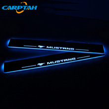 CARPTAH Trim Pedal Car Exterior Parts LED Door Sill Scuff Plate Pathway Dynamic Streamer light For Ford Mustang 2015   2018 2019